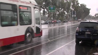 Rain in downtown San Diego