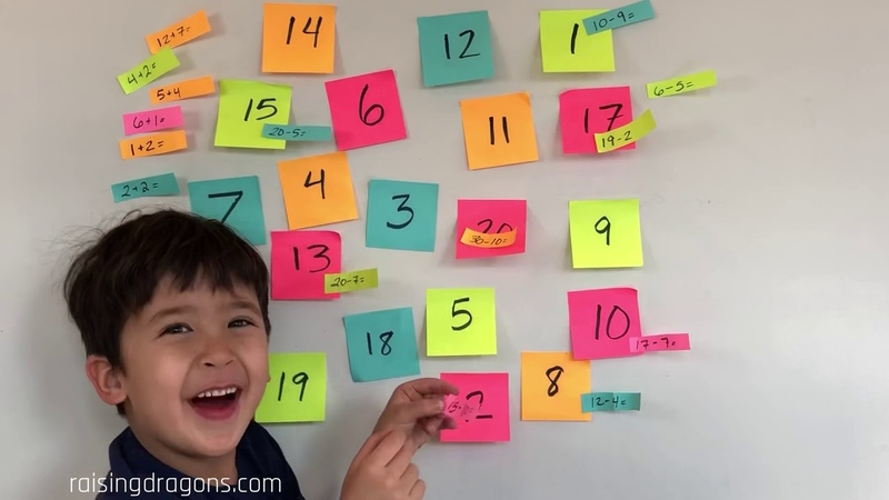 Kindergarten Math Learning Game Post It Notes Math Fact Game Preschool Math Learning videos