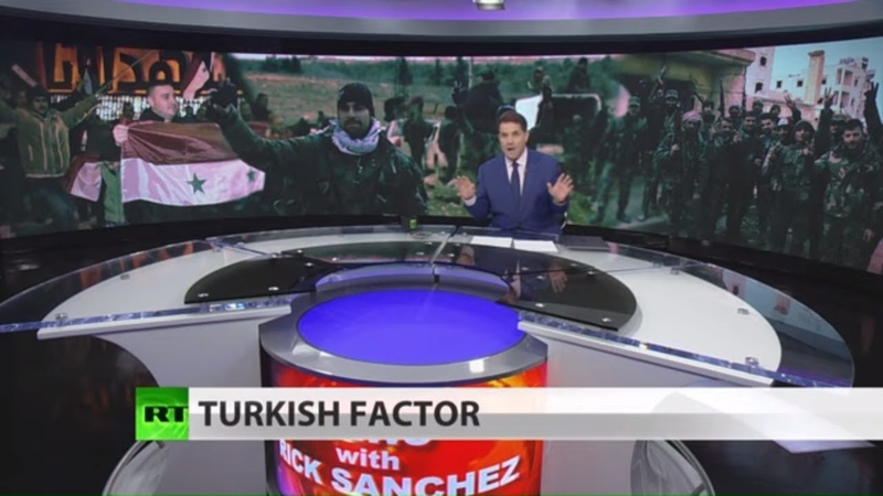 Russia's Air Force shelling militants backed by Turkey Full show