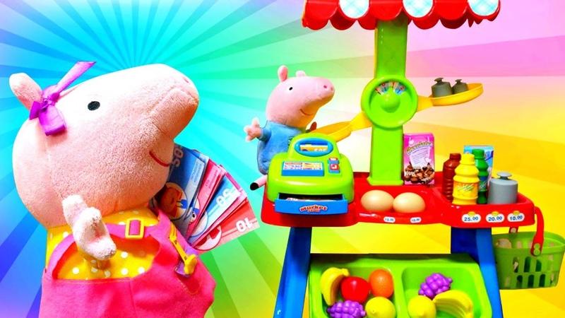 Çocuk videosu Peppa Pig ve Geogre alışveriş oyunu oynuyor Oyuncak dükkan