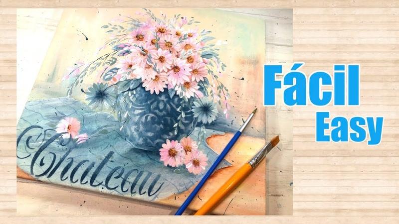 Técnica Fácil de pintura Acrílica 4 Flores Rosas