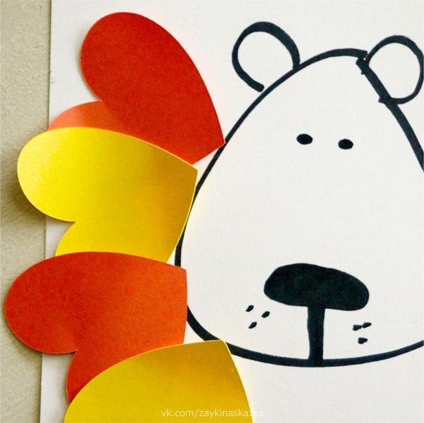ЛЬВЁНОК ИЗ СЕРДЕЧЕК Аппликация из цветной бумагиПонадобятся:ножницыклейцветная