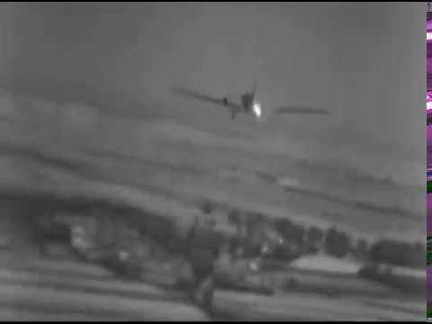 Ju 52 Shot Down - Closeup WW2 Gun Camera Footage