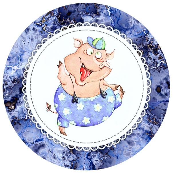 Новогодние круглые картинки со свинкой