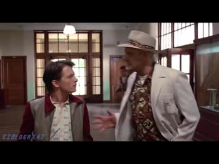 Robert Downey Jr and Tom Holland in Back to the future