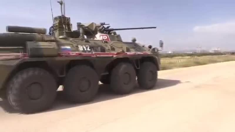 Совместное патрулирование российской военной полицией и турецкими военнослужащими трассы М4 в сирийской провинции Идлиб