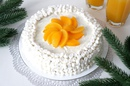 Торт «Сугроб» с персиками