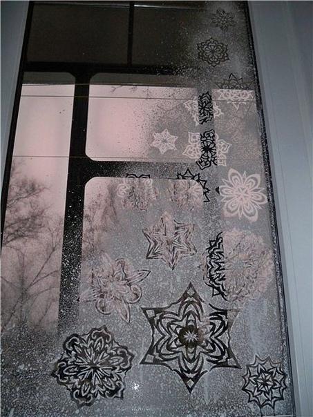 А Вы планируете украсить окна к Новому году Посмотрите идею.