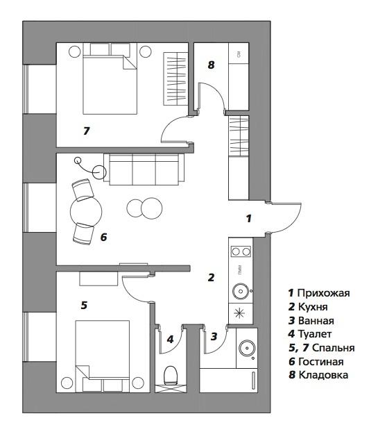 Двушка в сталинке, 50 м²