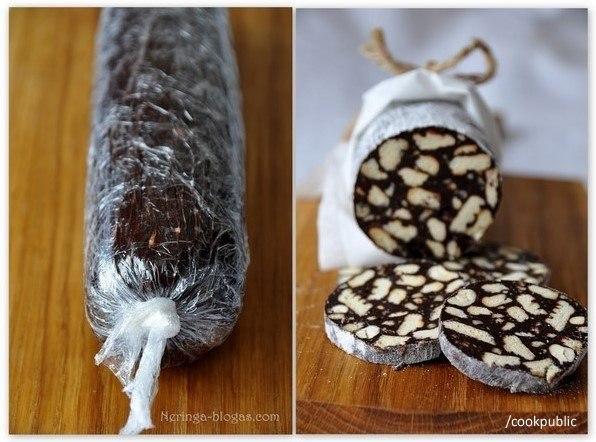 Шоколадное салями  Ингредиенты: * 2 пачки печенья * 100 г черного...