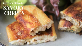 How to make creamy savory French crepes like in France : Ham cheese & mushroom filling (vegetarian)
