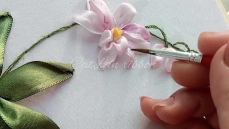 328-Orchids ribbon embroidery tutorial Hướng dẫn thêu ruy băng hoa lan