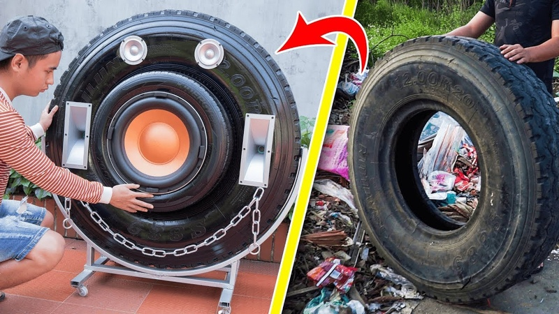 Recycle tire from landfill into Giant Bluetooth Speaker