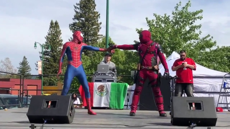 Deadpool Spider Man Dancing Up A Storm Presented by Costume Replica Cave IG auxiliary dance