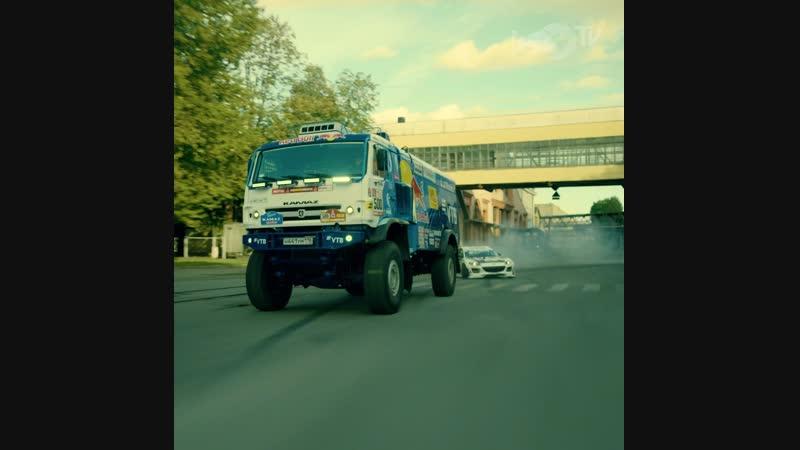 Дрифт КАМАЗа и Mazda на территории Кировского завода