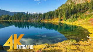 Amazing Nature Scenery of the Mountain Lake - 4K Nature Relax Video with Calm Water Sounds
