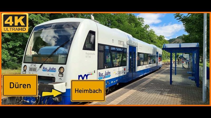 4K Führerstandsmitfahrt Cab Ride Düren ZOB nach Heimbach über Lendersdorf Kreuzau Obermaubach
