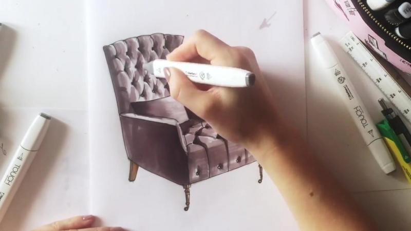 Интерьерный скетч кресла - велюр