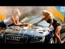 Сексуальные черлидерши моют машины