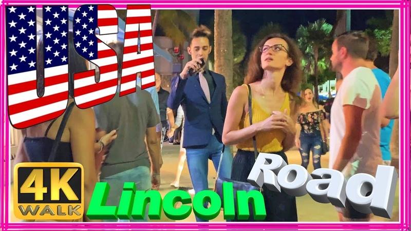 4K WALK Miami Beach 4k LINCOLN Road people in South Beach Miami Florida 4k documentary USA 2019