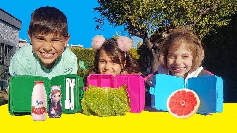 Okul beslenme kutusu içinden ne çıkacak Challenge Mikail Elis Meryem @Maceraci Cocuklar