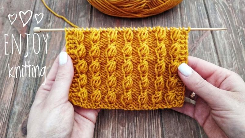КЛАССНЫЙ Узор спицами ШИШЕЧКИ Popcorn stitch knitting tuturial