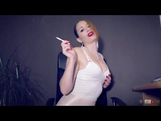 Kira Star smoking in white body