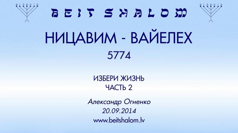 «НИЦАВИМ»   «ВАЙЕЛЕХ» 5774 часть 2 «ИЗБЕРИ ЖИЗНЬ» А.Огиенко (20.09.2014)