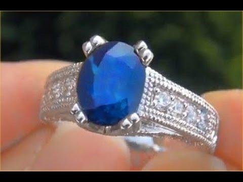 GIA Certified Harry Winston Unheated Blue Sapphire Diamond Engagement Wedding Ring
