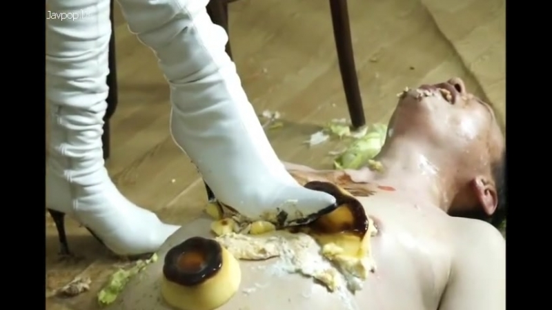 Trample and crush food,eat worship white and black boots Japan girl