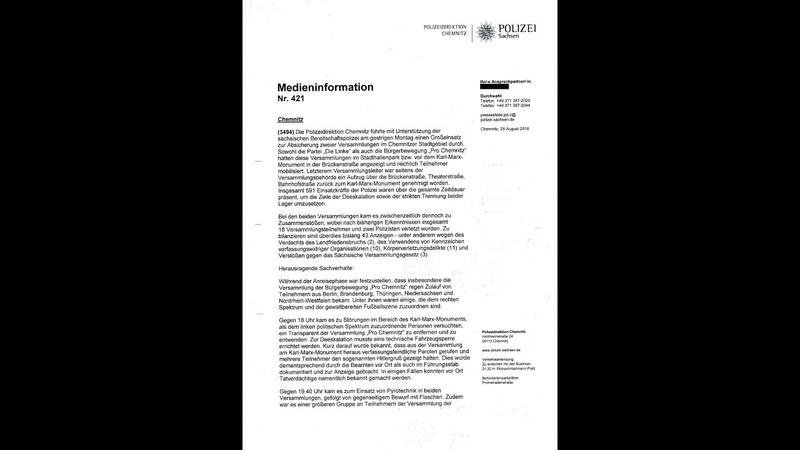 POLIZEI Bericht offenbart V - Mann Steuerung in Chemnitz - Teile Herrsche Spiel