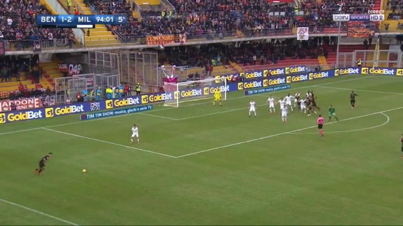 Италия. Вратарь «Беневенто» забивает гол на последних секундах.