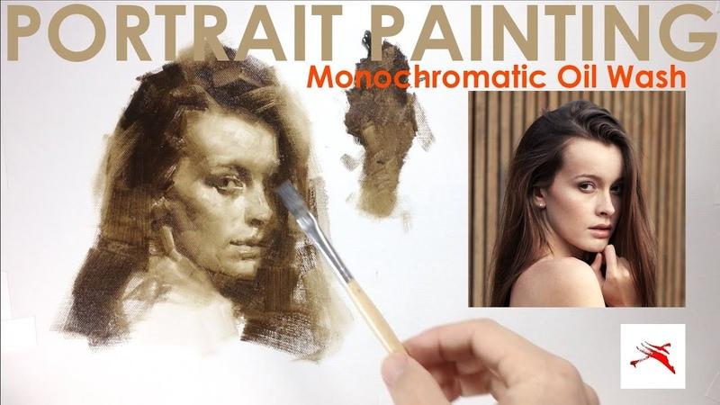 How to Paint Monochrome Portrait Painting with Oil Wash Technique