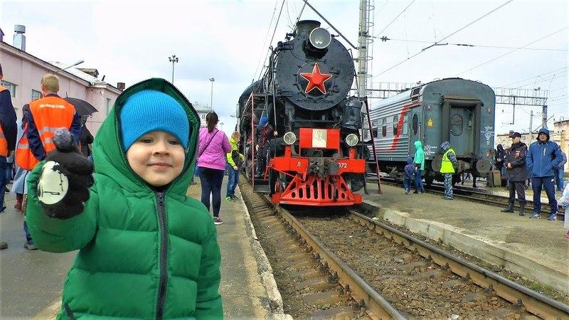Паровоз, электричка, маневровый поезд тепловоз в видео для детей