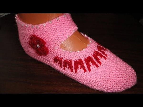 Тапочки-следки с бусинами на двух спицах. How to knitting slippers