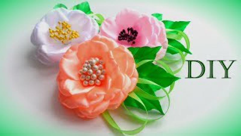 Цветы из атласных лент своими руками Мастер Класс/ Flowers of satin ribbons/Flores de fitas/Ola ameS