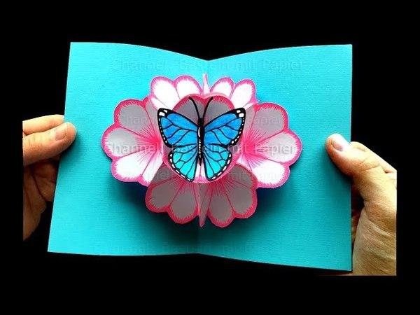Basteln mit Papier: Pop Up Karten Blumen Schmetterling selber machen 🌸 DIY Geschenke
