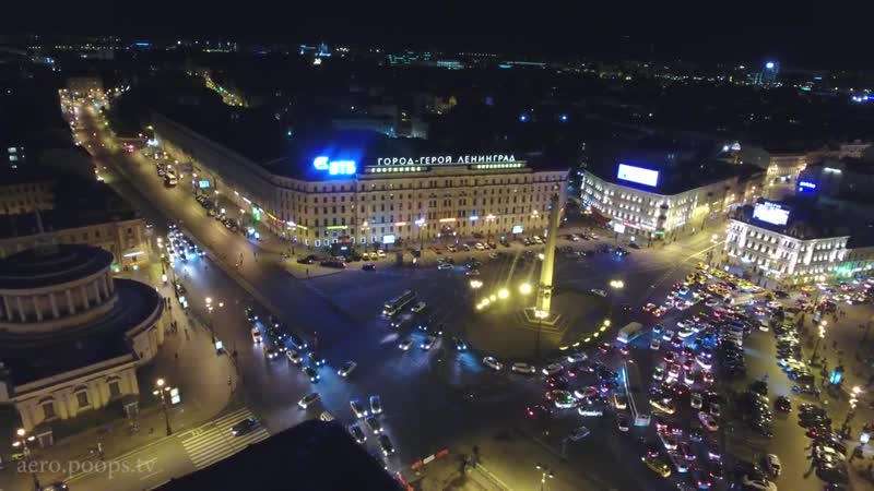 Ночной Санкт-Петербург c высоты птичьего полета. Центр и достопримечательности.-1
