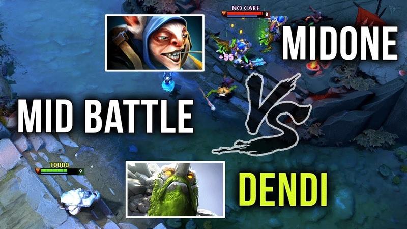 Dendi Tiny vs Midone Meepo Mid Battle of TITANS - Dota 2