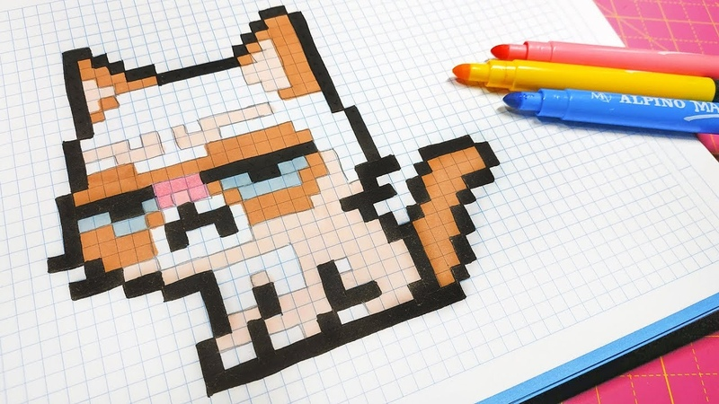 Handmade Pixel Art - How To Draw a Grumpy Cat pixelart
