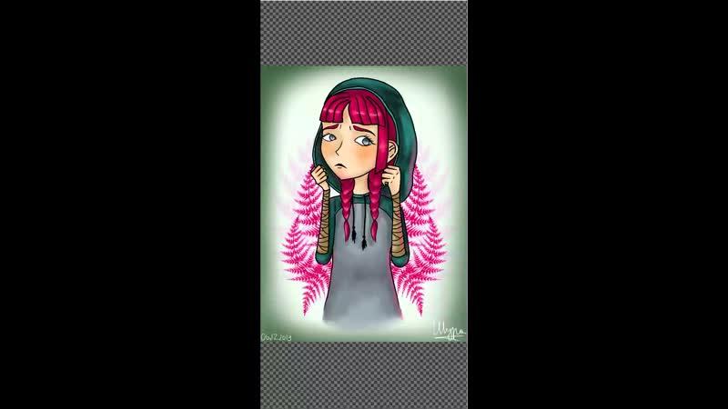 Девочка в капюшоне и листья папоротника.mp4