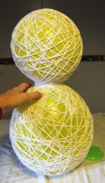 НОВОГОДНЯЯ ПОДЕЛКА СНЕГОВИК Для изготовления понадобятся белые нитки, клей пва, воздушные шарики