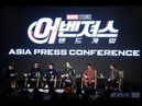 Brie Larson, Robert Downey Jr. ,Jeremy Renner, Kevin Feigi Russos at Press Conference in Seoul