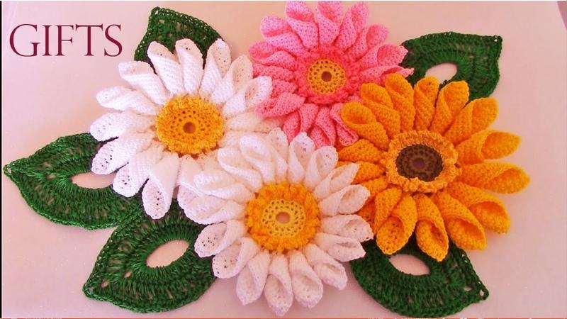 Como tejer fácil rápido ramo de margaritas para mamá Make quick and easy knitting beautiful flowers