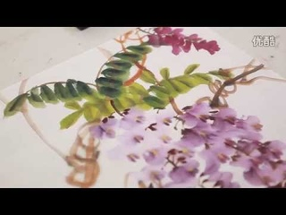 How to Paint  Wisteria Flowers in Chinese brush painting