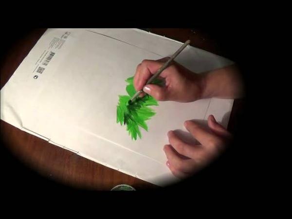Как научить ребенка рисовать елочку красками. How to draw Christmas tree
