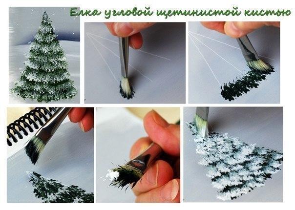 Учимся рисовать ёлочки разными способами. Есть много способов рисования деревьев. Различные кисти-щетки могут помочь в создании различных видов деревьев. И стиль, в котором вы рисуете также
