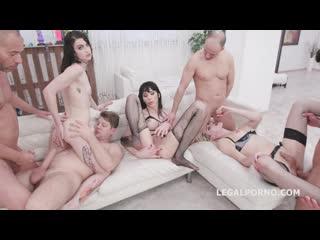 Two Trans Girls DAP'ed Lidya Black #2 Balls Deep Anal, Gapes, Squirt, Pee Drink and Creampie Swallow