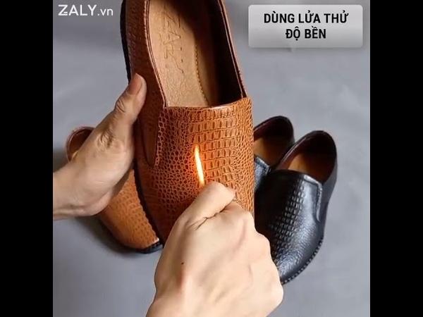 Giày lười nam Zaly G116 da bò nguyên tấm dập vân cá sấu sang trọng
