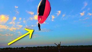 Полёт каскадёра на самодельном Воздушном Шаре из плёнки и скотча